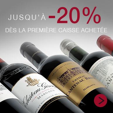 Jusqu'à -20% sur les vins de Bordeaux