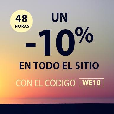 un -10% en todo el sito durante 48 horas con el código WE10
