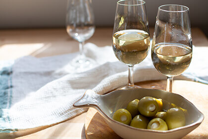 Fino Sherry with olives