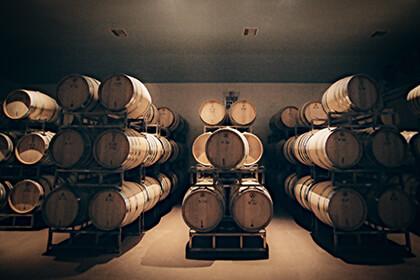 Peter Michael Winery barrel room