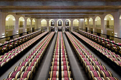 Bordeaux wines, Barrel Room at Chateau Montrose, Barrel Room Bordeaux