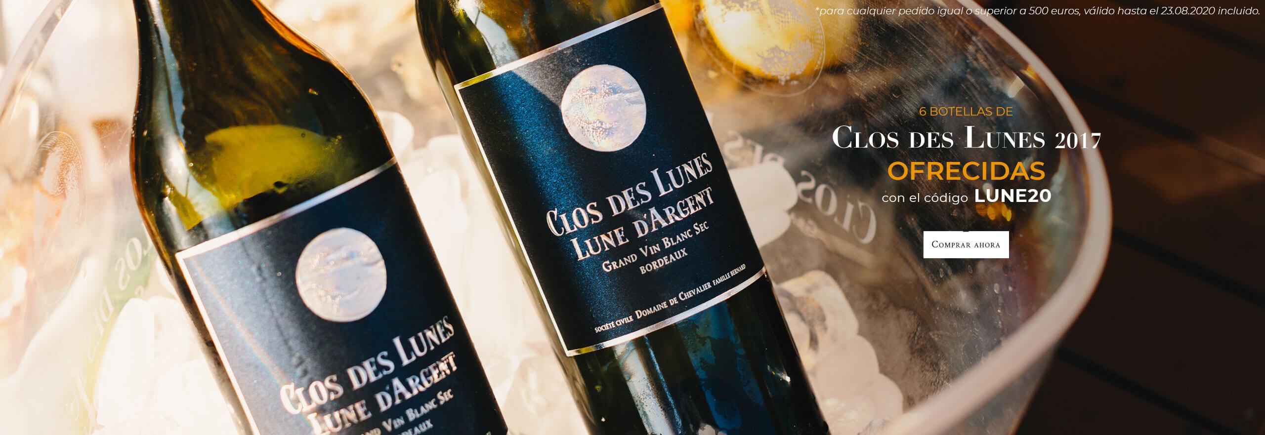 6 botellas de Clos des Lunes 2017 ofrecidas con el código LUNES20