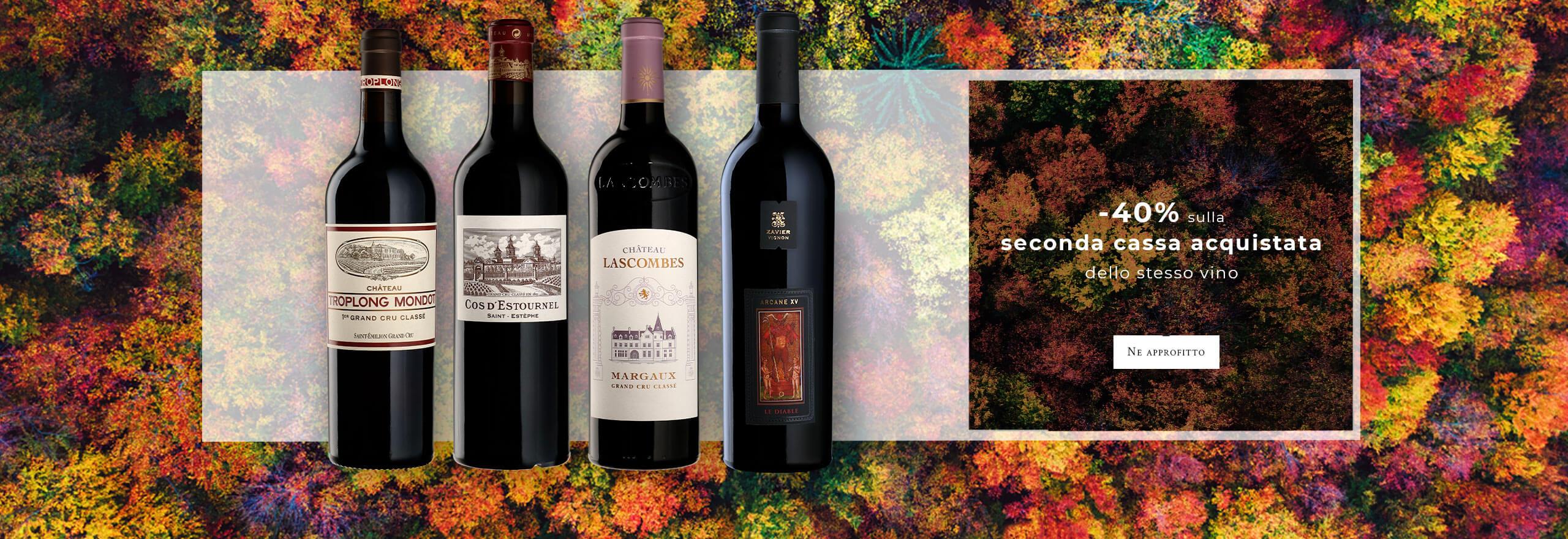40% di sconto sull'acquisto della seconda cassa dello stesso vino