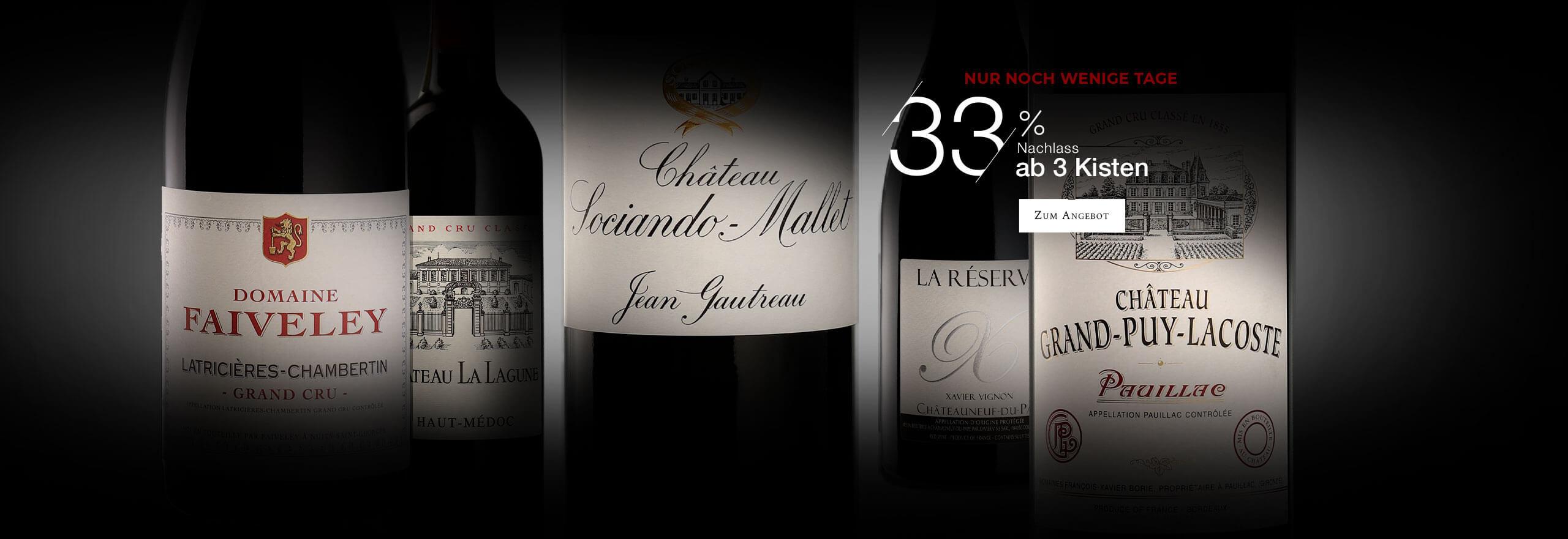 1+1= 3 (gleicher Wein 3. Kiste gratis oder gemischt 33% Rabatt ab 3 Kisten)