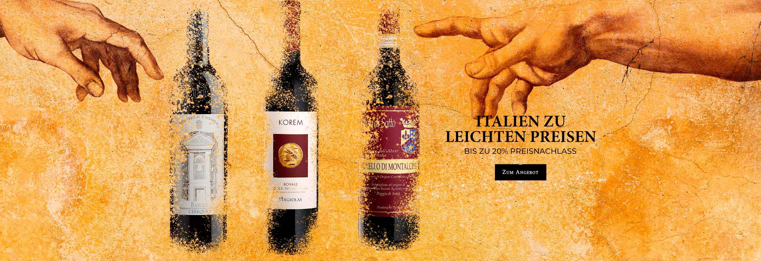 Bis zu 20% Preisnachlass auf über 70 italienische Weine!