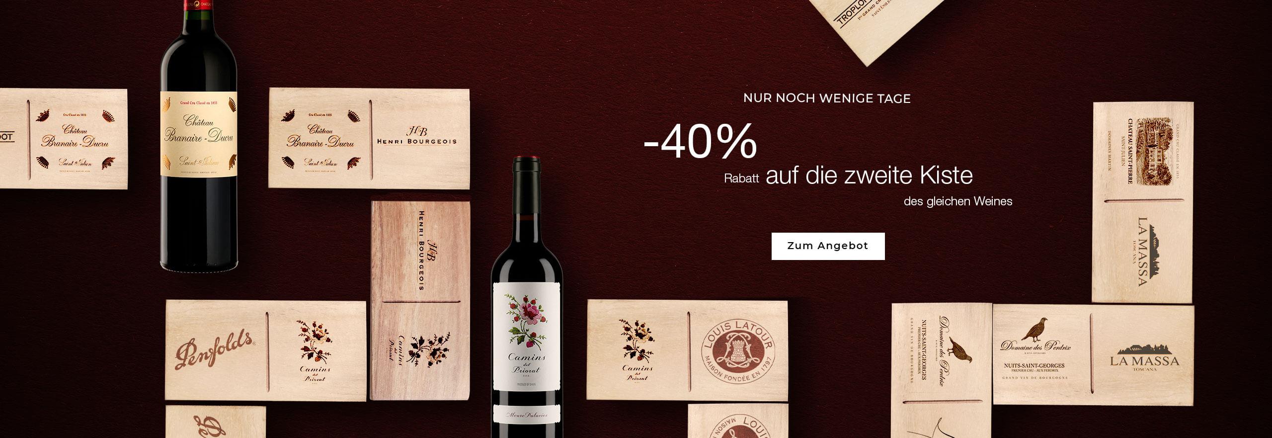 Neues Angebot: 40% Rabatt auf die 2. gekaufte Kiste des gleichen Weins