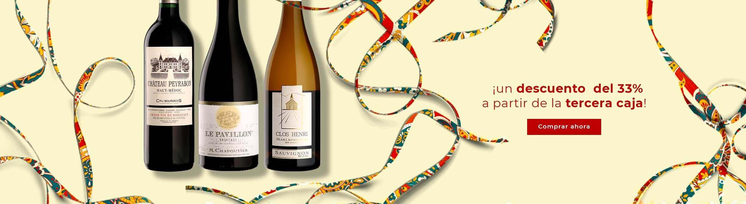 Nueva oferta : un descuento del 33% (combinación de vinos posible)