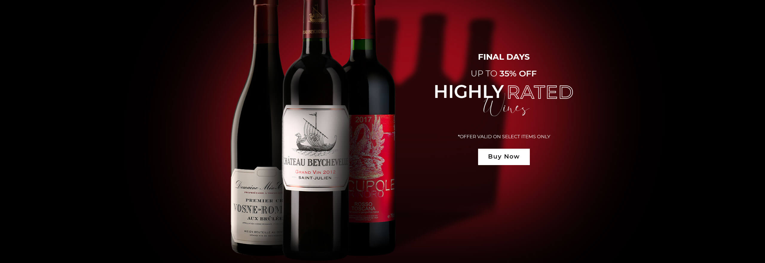 Up to 30% off highly-rated wines