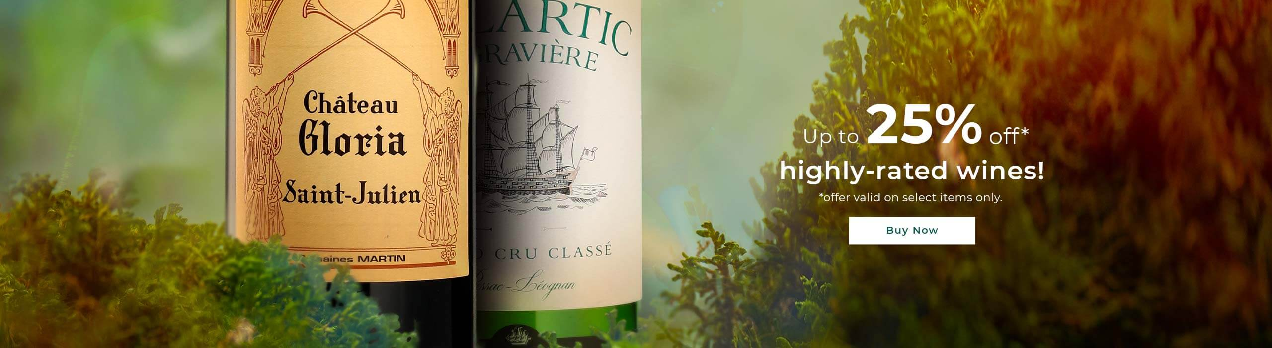 Up to 25% off highly-rated wines!